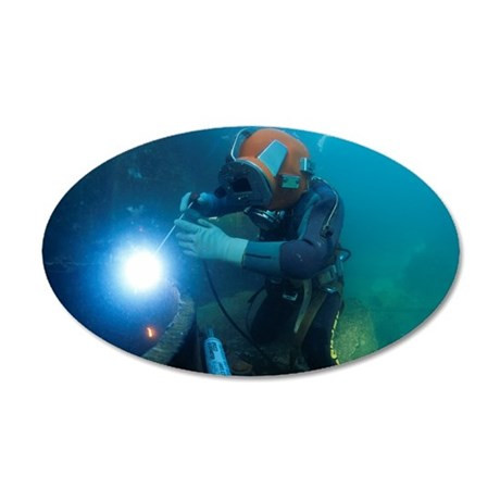 Commercial diver welding 35x21 Oval Wall Decal