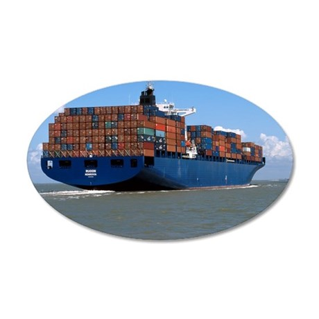 Container ship at sea 35x21 Oval Wall Decal