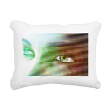 Woman's eyes, computer a Rectangular Canvas Pillow