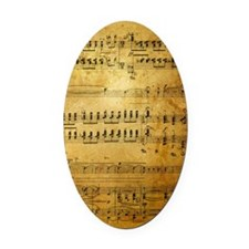 Sheet Music, Vintage, Oval Car Magnet
