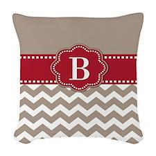 Red Taupe Chevron Monogram Woven Throw Pillow
