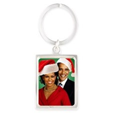 Obama Christmas Portrait Keychain