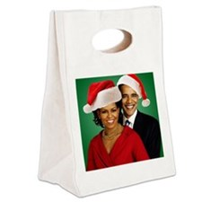 Obama Christmas Canvas Lunch Tote