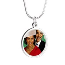 Obama Christmas Silver Round Necklace