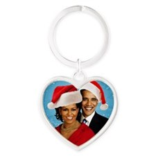 Obama Christmas Heart Keychain