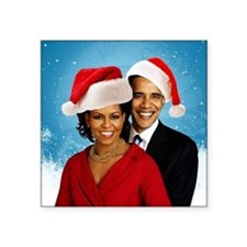 "Obama Christmas Square Sticker 3"" x 3"""