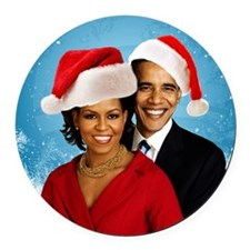 Obama Christmas Round Car Magnet