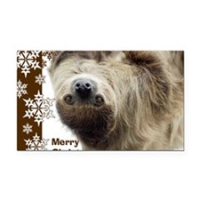 Sloth Xmas Card Snowflakes Rectangle Car Magnet