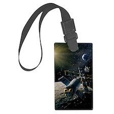 Artwork of lunar lander docking  Luggage Tag