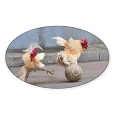 Roosters Play Soccer Decal