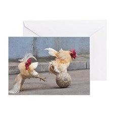 Roosters Play Soccer Greeting Card