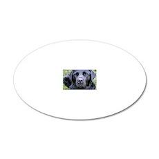 Black Labrador Retriever 20x12 Oval Wall Decal