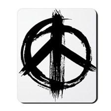 Peace sign - black Mousepad