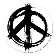 Peace sign - black Round Car Magnet