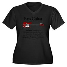 Bass Guitar  Women's Plus Size Dark V-Neck T-Shirt
