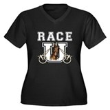 Race U Women's Plus Size V-Neck Dark T-Shirt