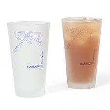 Marrakech geocode map (Blue) Drinking Glass