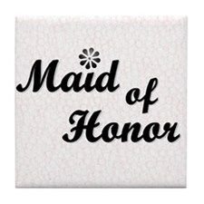 Maid of Honor (black) Tile Coaster