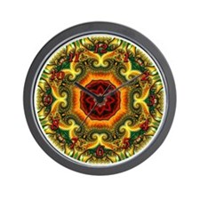 Fractal Christmas Kaleidoscope Clock Wall Clock