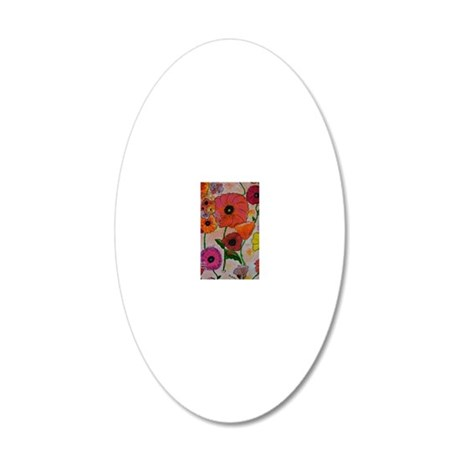 Poppies 20x12 Oval Wall Decal