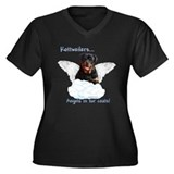 Rottie Angel Women's Plus Size V-Neck Dark T-Shirt