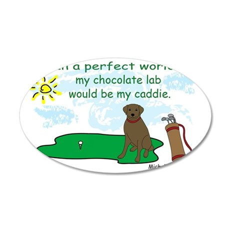 chocolate lab 35x21 Oval Wall Decal