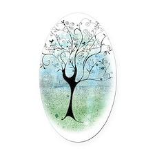 Blackbird Tree Oval Car Magnet