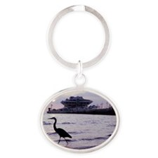 Heron at the Pier Oval Keychain