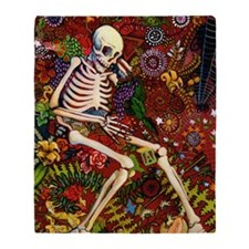 Day Of The Dead Loteria Throw Blanket