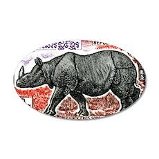 1972 Cambodia Javan Rhino Po 35x21 Oval Wall Decal