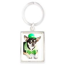 St. Patricks Day Chihuahua Portrait Keychain