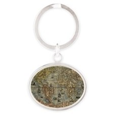 16th century world map Oval Keychain