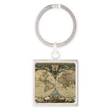 17th century world map Square Keychain
