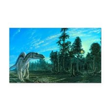 Artwork of a Maiasaura dinosa Rectangle Car Magnet