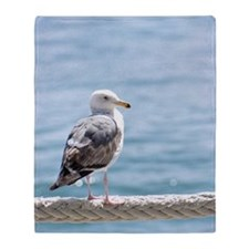 Seagull By The Water Throw Blanket