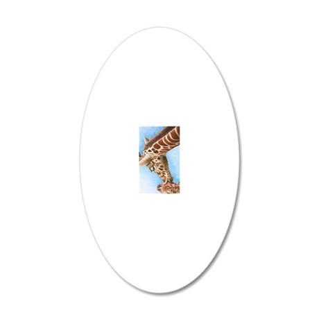 Giraffe and Calf Charger Cas 20x12 Oval Wall Decal