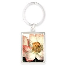Botanical Lotus Portrait Keychain