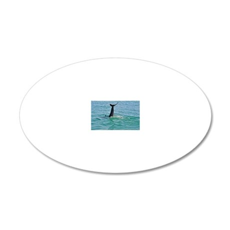 Bottlenose Dolphin Diving -  20x12 Oval Wall Decal