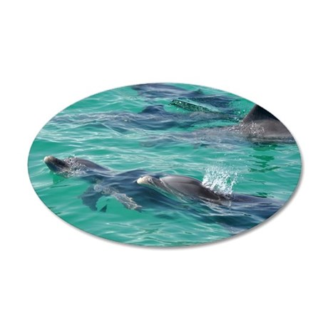 Bottlenose Dolphins 35x21 Oval Wall Decal