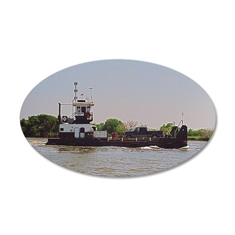 Tugboat With Barge Carrying  35x21 Oval Wall Decal