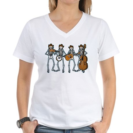 Cowboy Music Skeletons Women's V-Neck T-Shirt