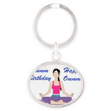 Yoga Birthday Card Oval Keychain