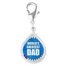 Worlds Greatest Dad Silver Teardrop Charm