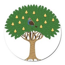 Partridge in a Pear Tree Round Car Magnet