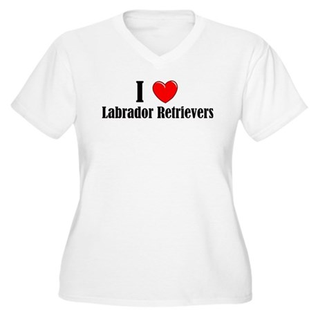 I Love Labs Women's Plus Size V-Neck T-Shirt