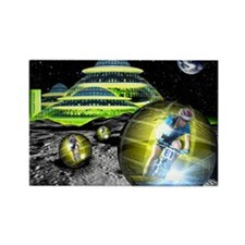 Computer artwork of men cycling f Rectangle Magnet