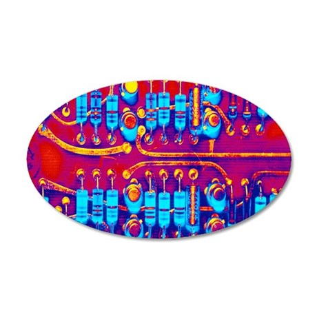 Computer circuit board 35x21 Oval Wall Decal