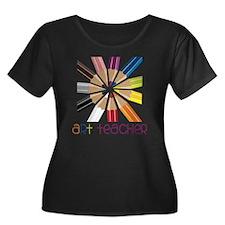 Art Teac Women's Plus Size Dark Scoop Neck T-Shirt
