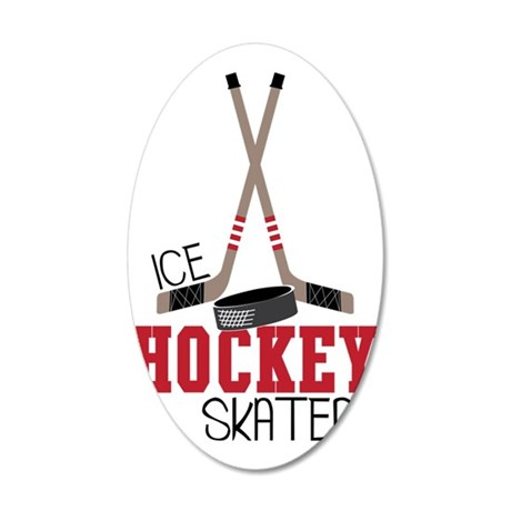 Hockey Ice Skater 35x21 Oval Wall Decal