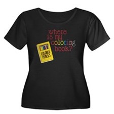 Coloring Women's Plus Size Dark Scoop Neck T-Shirt